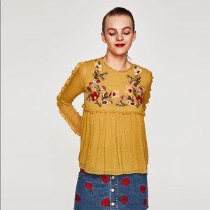 New Zara Embroidered Mustard Blouse